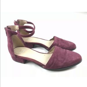 Eileen Fisher Suede Point Toe Heels SZ 7 Strap
